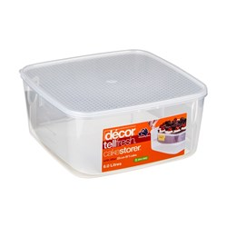 TELLFRESH SQ CONTAINER 6LT 262X262X120MM W/CAKE LIFTER(4)