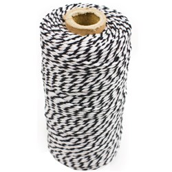 BAKERS TWINE 1.5 BLK/WHT 100MT ROLL 100% COTTON (26)