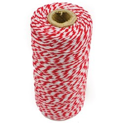 BAKERS TWINE 1.5 RED/WHT 100MT ROLL 100% COTTON (26)