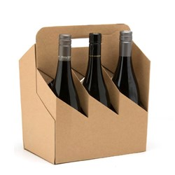 WINE CARRIER 6 BOTTLE BROWN KRAFT 50/CTN 310X420X170MM