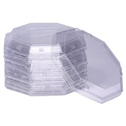 PLASTIC LID CLR SUIT OCTAGON SUIT FAN-10B BOX 500/CTN