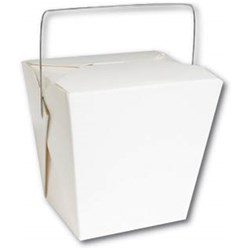 FOOD PAIL WHITE 32OZ 954ML 50/PKT (9) SQUARE BASE & HNDL
