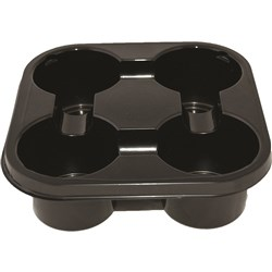 DRINK TRAY 4 CUP BLACK PET PLASTIC 400/CTN