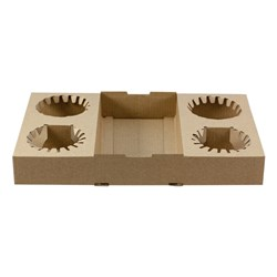 DRINK TRAY 4 CUP BROWN BOARD 292 X 176MM 100/CTN