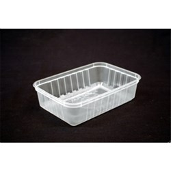RECTANGLE CONTAINER 680ML PLASTIC RIDGED 50/PKT (10)