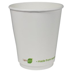 I AM ECO DOUBLE WALL CUP 355ML WHT 500/CTN 12OZ