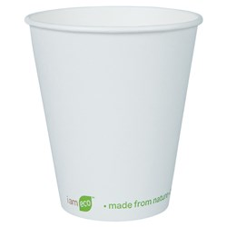 I AM ECO SINGLE WALL CUP 355ML WHT 1000/CTN 12OZ