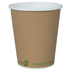 I AM ECO SINGLE WALL CUP 240ML BROWN 1000/CTN 8OZ