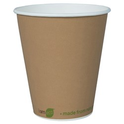 I AM ECO SINGLE WALL CUP 355ML BROWN 1000/CTN 12OZ
