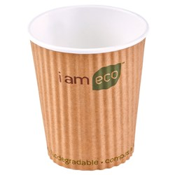 RIPPLE WRAP CUP 240ML BROWN I AM ECO 1000/CTN 8OZ