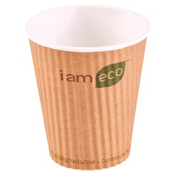 RIPPLE WRAP CUP 355ML BROWN I AM ECO 1000/CTN 12OZ