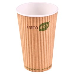 RIPPLE WRAP CUP 473ML BROWN I AM ECO 500/CTN 16OZ