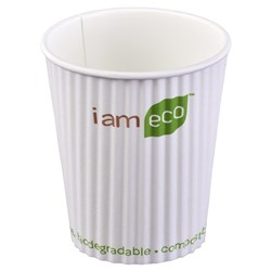 RIPPLE WRAP CUP 240ML WHT I AM ECO 1000/CTN 8OZ