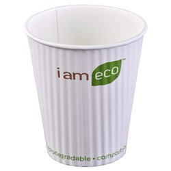 RIPPLE WRAP CUP 355ML WHT I AM ECO 1000/CTN 12OZ