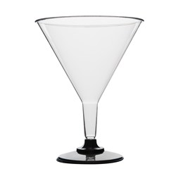 PLASTIC COCKTAIL GLASS 220ML 10/PKT (10) BLACK BASE