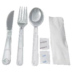 MEAL PACK CUTLERY SET CLEAR KNF/FRK/SPN/S&P/NAP 250/CTN