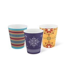 COFFEE ORIGINS RIPPLE WRAP CUP 240ML 3 MIXED PRINTS 1000/CTN