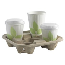 BIOCUP DRINK TRAY 4 CUP NAT 75/PKT (4)
