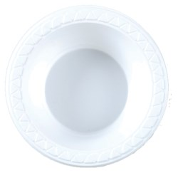 PLASTIC BOWL 180MM WHITE 50/PKT (10)