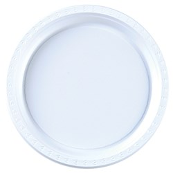 PLASTIC PLATE 180MM WHITE 50/PKT (10)