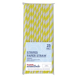 PAPER STRAW REGULAR YELL & WHT STRIPES 25/PKT (120)
