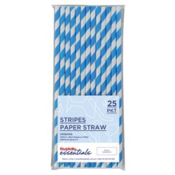 PAPER STRAW REGULAR BLUE & WHT STRIPES 25/PKT (120)