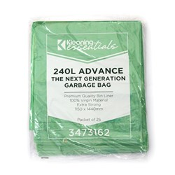 GARBAGE BAG 240LT GREEN MDPE 1150X1440MM 100/CTN NEXT GEN