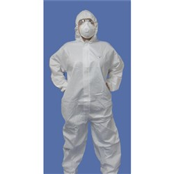 COVERALL W/- HOOD WHT HAZGUARD PP MED (25)