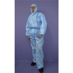 COVERALL SMS W/- HOOD BLUE 2XL (50)