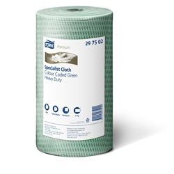 TORK CLEANING CLOTH GREEN ROLL LONG LASTING 50X30CM 4/CTN