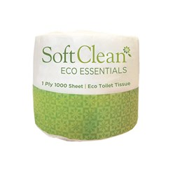 SOFT CLEAN 1PLY 1000SHEET TOILET ROLL  48/CTN ESSENTIALS