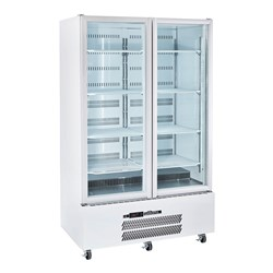 FRIDGE U/R 2 DR GLASS 900LT HQS2GDCB WHT 1225X740X2000MM