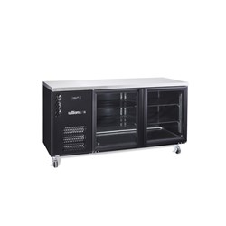 FRIDGE UNDERCOUNTER 2 GLASS DOORS BLK 1603X650X845MM