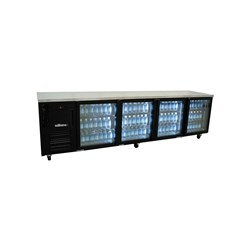 FRIDGE UNDERCOUNTER 4 GLASS DOORS BLK 2775X650X845MM