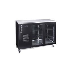 FRIDGE UNDERCOUNTER 2 GLASS DOORS BLK 1497X650X1050MM