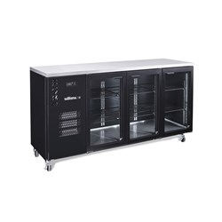 FRIDGE UNDERCOUNTER 3 GLASS DOORS BLK 2017X650X1050MM