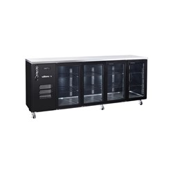 FRIDGE UNDERCOUNTER 4 GLASS DOORS BLK 2537X650X1050MM