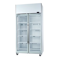 FRIDGE U/R 2DR GLASS 980LT TME1000N-A WHT 1130X745X2200MM