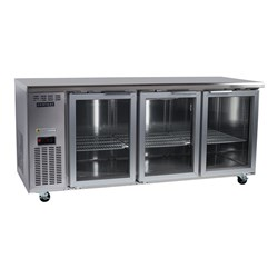 CHILLER UNDERCOUNTER BC180-CG 3 GLASS DOORS S/S INTEGRAL