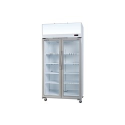 FRIDGE U/R 2DR GLASS 980LT TCE1000 WHT 1130X750X2200MM