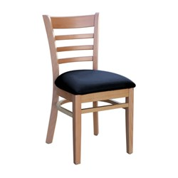 FLORENCE CHAIR NATURAL BLK VINYL SEAT