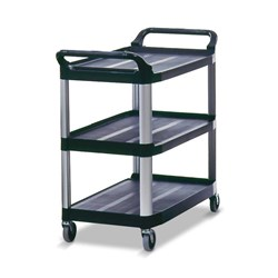 TROLLEY 3 TIER LARGE OPEN BLK PLASTIC 1030X510X960MM