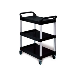 TROLLEY 3 TIER SML BLK PLASTIC OPEN SIDES 854X473X959MM