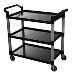UTILITY TROLLEY 3 TIER BLK PLASTIC 1060X480X1000MM