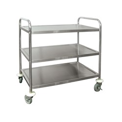 UTILITY TROLLEY 3 TIER H/DUTY 830X510X940MM S/S 18/10