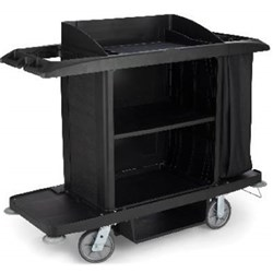 HOUSEKEEPING CART W/BAG 2 SHELF 1520X560X1270MM BLK