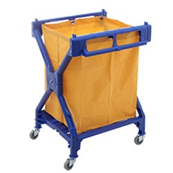 LINEN SCISSOR TROLLEY W/YELLOW BAG 945X640X640MM PLASTIC