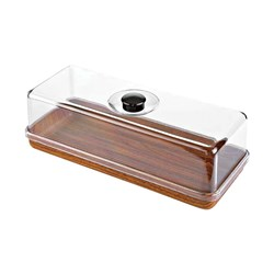 EVELIN RECT TRAY W/LID 160X390X130MM P/STYRENE (6)