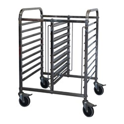 GASTRONORM TROLLEY 18 TRAY 1/1GN HALF HEIGHT DBL BAY