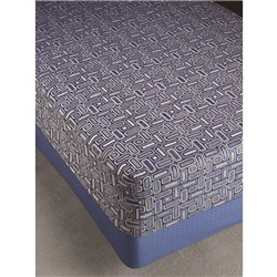 BEDSPREAD JACQUARD DBL GEO OCEAN FITTED